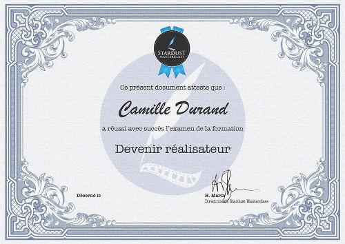 Certificat Stardust Masterclass Devenir Realisateur