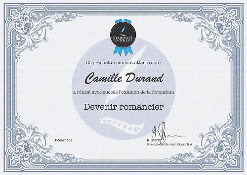 Certificat formation Stardust Masterclass Romancier