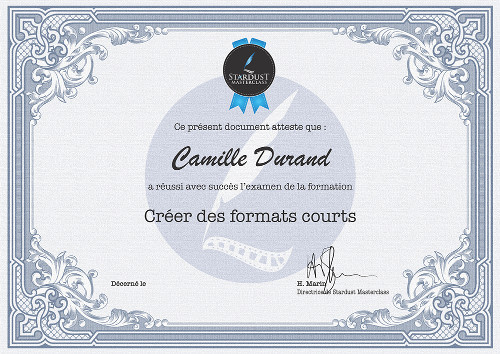Certificat formation Stardust-Masterclass Formats Courts