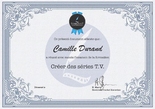 Certificat formation Series-TV
